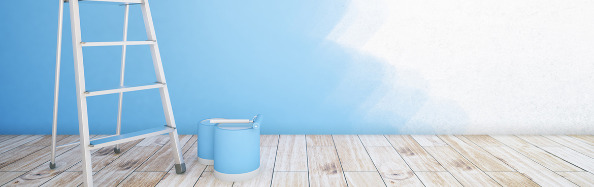 Room interior with unfinished blue wall, paint buckets, ladder and wooden floor. Mock up, 3D Rendering